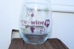 Our stemless wine glass with the imprinted race logo.
